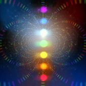 stock photo of cosmic  - cosmic energy abstract background with rainbow corcles - JPG