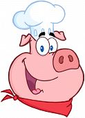 image of pig head  - Illustration Of Happy Pig Chef Head Cartoon Character - JPG