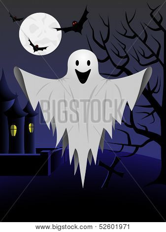Halloween card with flying ghost and castle and tree in the background. Raster version of EPS id:37779544