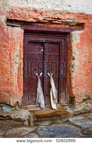 Old door at Buddhist monastery temple