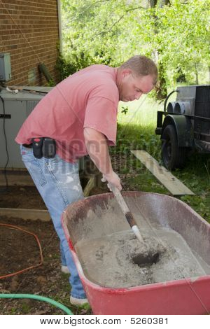 Active Contractor Mixing Cement