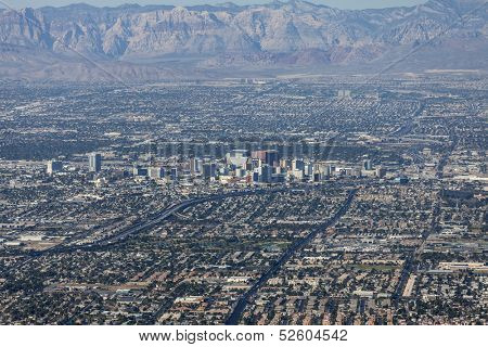 LAS VEGAS, NEVADA - Oct 15:  View of downtown Las Vegas.  Shot from Frenchman Mountain.  Vegas has 149,820 hotel rooms with a average daily rate of $110 on October 15, 2013 in Las Vegas, Nevada.