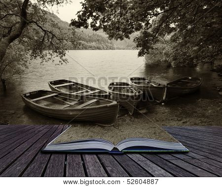 Creative Concept Pages Of Book Sepia Retro Style Picture Of Derelict Boathouse And Rowing Boats Land