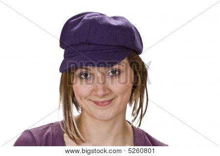 Portrait Of A Woman With Violet Hat