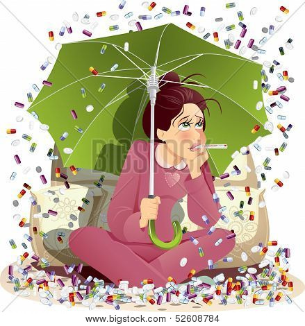Sick Girl Bombarded with Medication - Vector Illustration