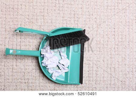 Green Sweeping Brush Dustpan