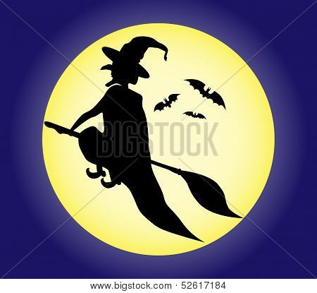 Witch silhouette on the moon