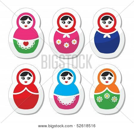 Russian doll, retro babushka vector icons set