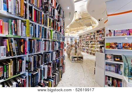BEIJING,CHINA - JULY 6, 2010:Books on Bookcase at shopping mall center on July 6, 2010 in Beijing. Bookstore with a good interior design to attract customers in Beijing.