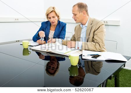 Male and female environmentalists discussing over documents at desk in office