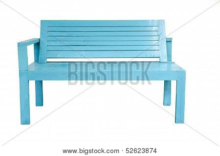 Vintage Wooden Blue Chair Isolated On White Background