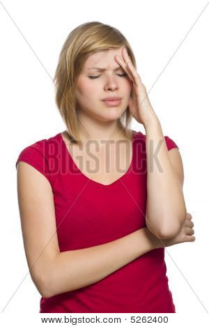 Blonde Female Having A Headache
