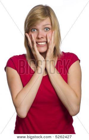 Afraid Woman Isolated On White