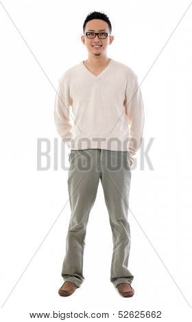 Southeast Asian Chinese man. Front view full length of Asian male isolated on white background.