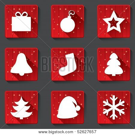Merry Christmas flat paper icons with shadows.