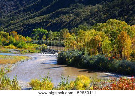 Scenic Gunnison river in autumn time