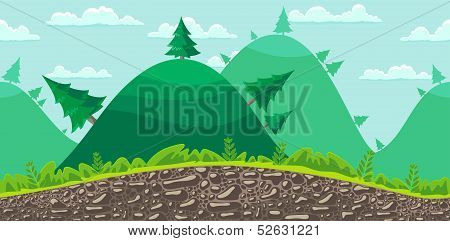 Seamless Landscape Background. Forest.