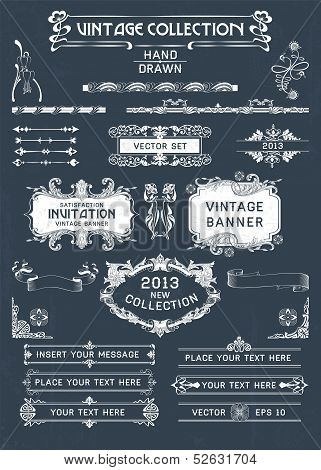 Vintage Banners And Labels Set With Decorative Elements. Vector.