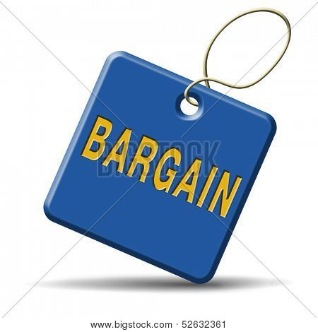bargain icon or button. Lowest price and great sales deal and reduction or sale promotion with special price cut. Blue placard