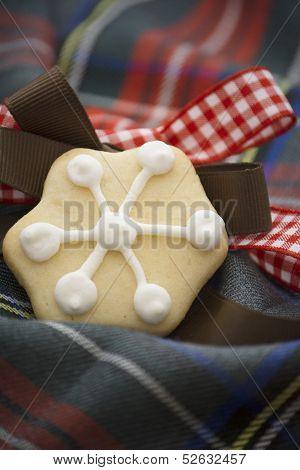 Christmas Cookies On Red And Bule Tartan