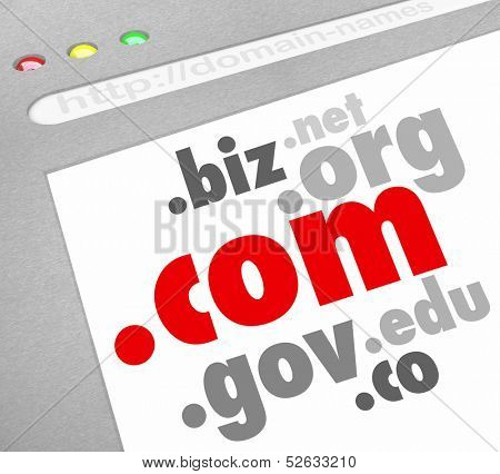 A website screen showing domain name address suffixes such as .com, .edu, .org, .info, .net, .biz and .co to illustrate options for registering your web url for your personal or business internet site