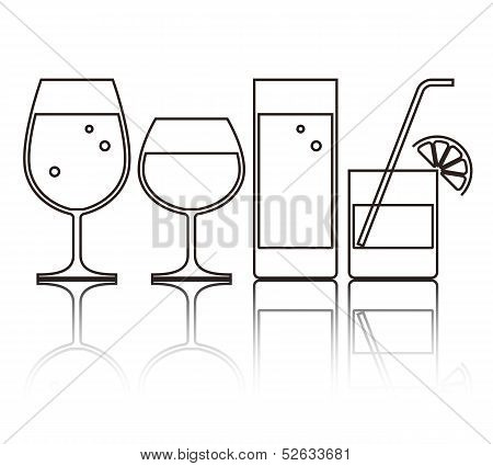 Illustration Of Wine, Beer, Cocktail And Water Glasses
