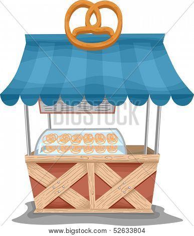 Illustration of a Food Cart Selling Pretzels