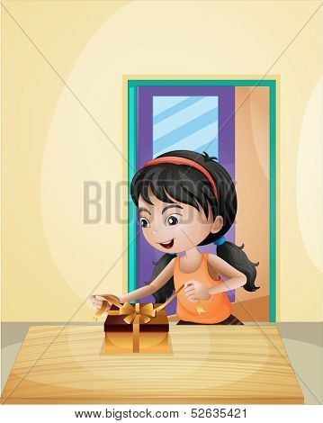 Illustration of a girl unwrapping a gift
