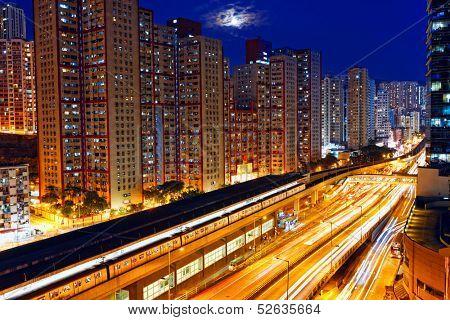 busy highway train traffic night in finance urban