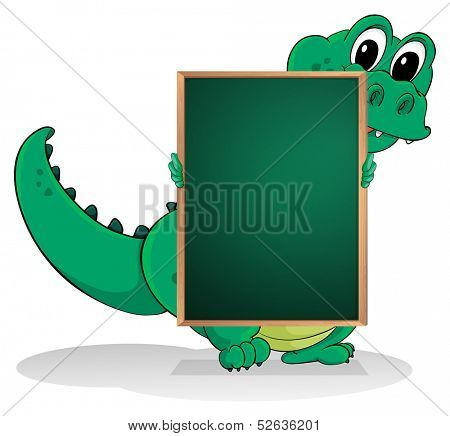 Illustration of a small crocodile at the back of an empty greenboard on a white background