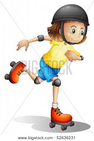 Illustration of a young girl rollerskating on a white background