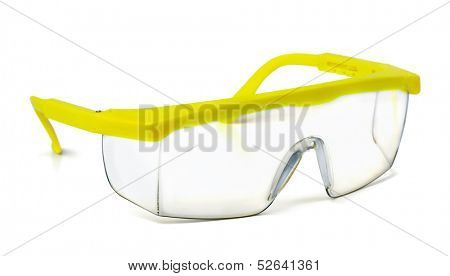 Plastic safety goggles isolated on white