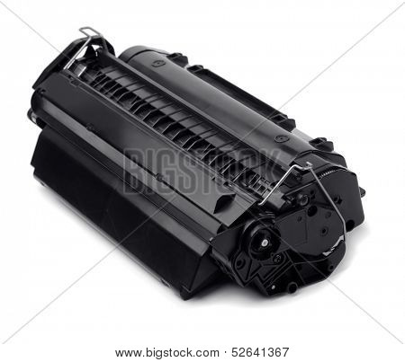 Laser printer cartridge isolated on white