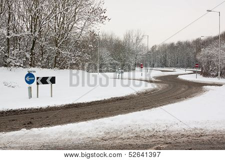Roundabout In Snow