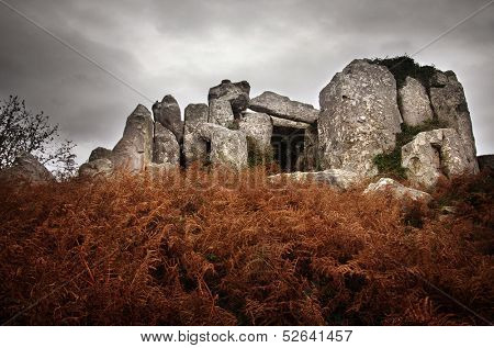 Prehistorical granite dolmen, temple of the dead, in Sintra Portugal
