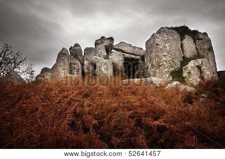 Prehistorical granite dolmen, temple of the dead, in Sintra Portugal