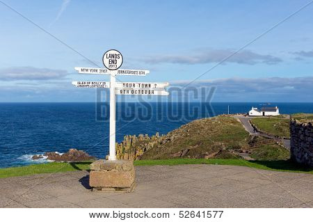 Signpost at Land`s End Cornwall the most westerly point of England on the Penwith peninsula