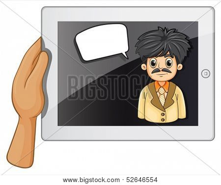 Illustration of a man inside a gadget with a rectangular callout on a white background