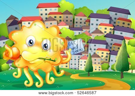 Illustration of a thoughtful monster at the top of the hill across the village