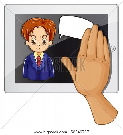 Illustration of a gadget with an angry man having an empty rectangular callout on a white background