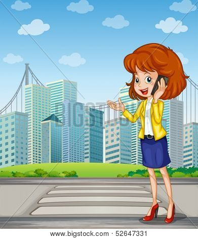 Illustration of a lady with a cellphone standing at the pedestrian lane