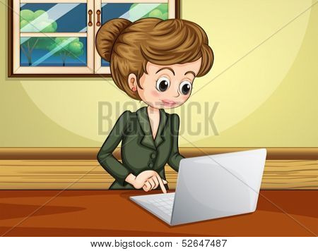 Illustration of a lady using the laptop near the window