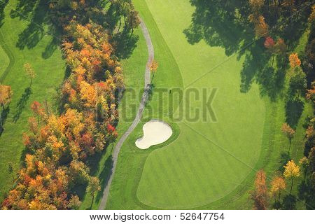 Aerial View Of Golf Course During Autumn