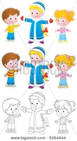 Snow Maiden And Children