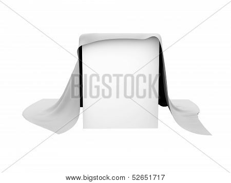 Box covered with a white cloth