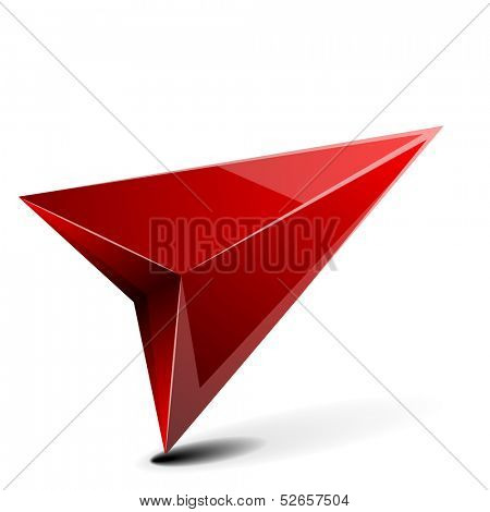 detailed illustration of a 3D gps arrow with shadow isolated on white