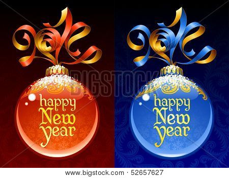 Christmas and New Year circle frame. Vector ribbon in the shape of 2014 and glass ball. Red and blue