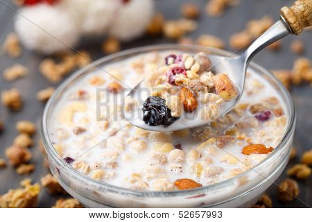 Healthy Muesli Breakfast With Nuts And Raisin