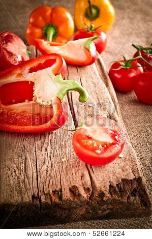 Fresh organic tomatoes and paprika