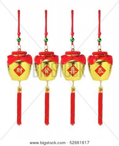 Chinese New Year Auspicious Golden Pots Ornaments With Festive Greetings - Wealth And Prosperity